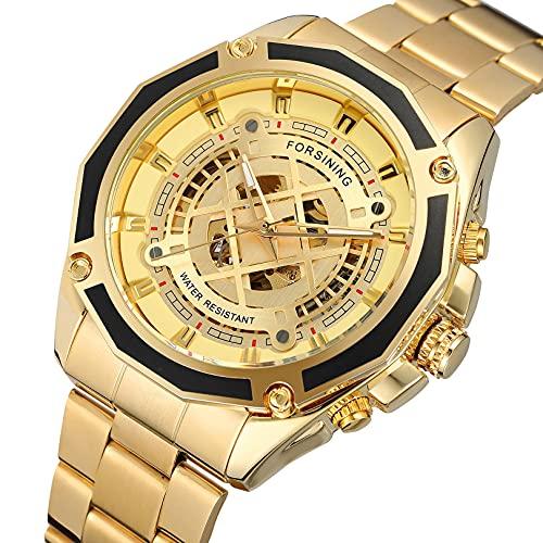 Excellent Relojes mecánicos automáticos de los Hombres Reloj de Reloj de Pulsera analógico con Correa de Acero Inoxidable Deportes Esqueleto,A06
