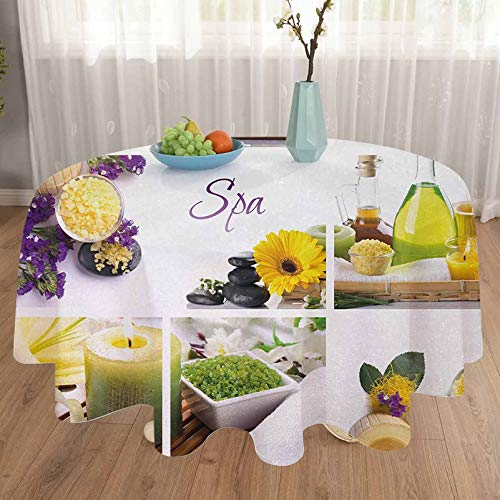 carmaxshome 48 Inch Halloween Tablecloth - Spa Yellow Happy Peaceful Spa Day with Flowers Candles and Herbal Oils Art Round Tablecloths - Yellow Purple and White
