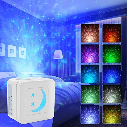 UOUNE LED Sternenhimmel Projektor - Wasserwelle Projektionslampe - Schallaktivierte Konstruktion Nachtlicht mit Helligkeit Einstellbar & Timer für Erwachsene, Kinder, Zimmer Dekoration, Party (Weiß)