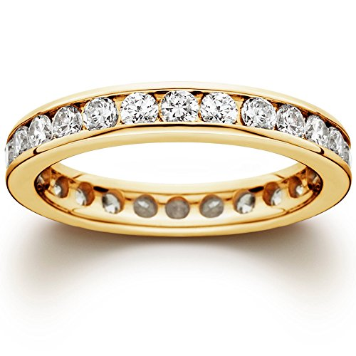 1 1/2 CT Channel Set Eternity Diamond Ring 14K Yellow Gold - Size 5.5