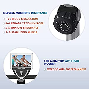 pooboo Recumbent Exercise Bike for Adults/Seniors, Magnetic Indoor Cycling Bikes for Home Workout, Quiet Stationary Bike with Digital Monitor, Phone Holder, Adjustable Seat, 300 lbs Capacity