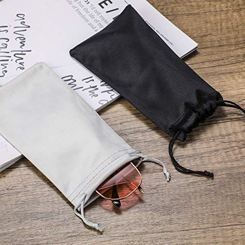 8 Pieces Sunglasses Pouches with Soft Slim Glasses Cleaning Cloth Portable Drawstring Microfiber Eyeglass Storage Bags (Black, Gray)