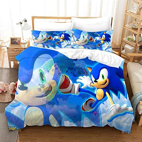 AZJMPKS Sonic Animation - Juego de cama infantil (microfibra, impresión digital 3D, 135 x 200 cm (A7, 135 x 200 cm + 75 x 50 cm)