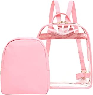 Wultia - Transparent PVC Backpack Women Bookbag Candy Clear Jelly Women Travel Purse Crystal Beach Bag Portable Women Jelly Bags #G8 Pink