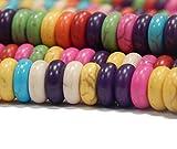 Perlin - 220Stk Türkis Edelstein Strang Perlen 8mm Edel Mix Bunte Halbedelstein Set Rondella G204...