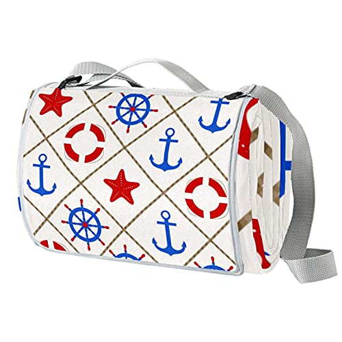 Manta de picnic portátil de 57 x 59 pulgadas, impermeable, para la playa, camping, césped, música, festival náutico, ancla azul, estrella de mar roja