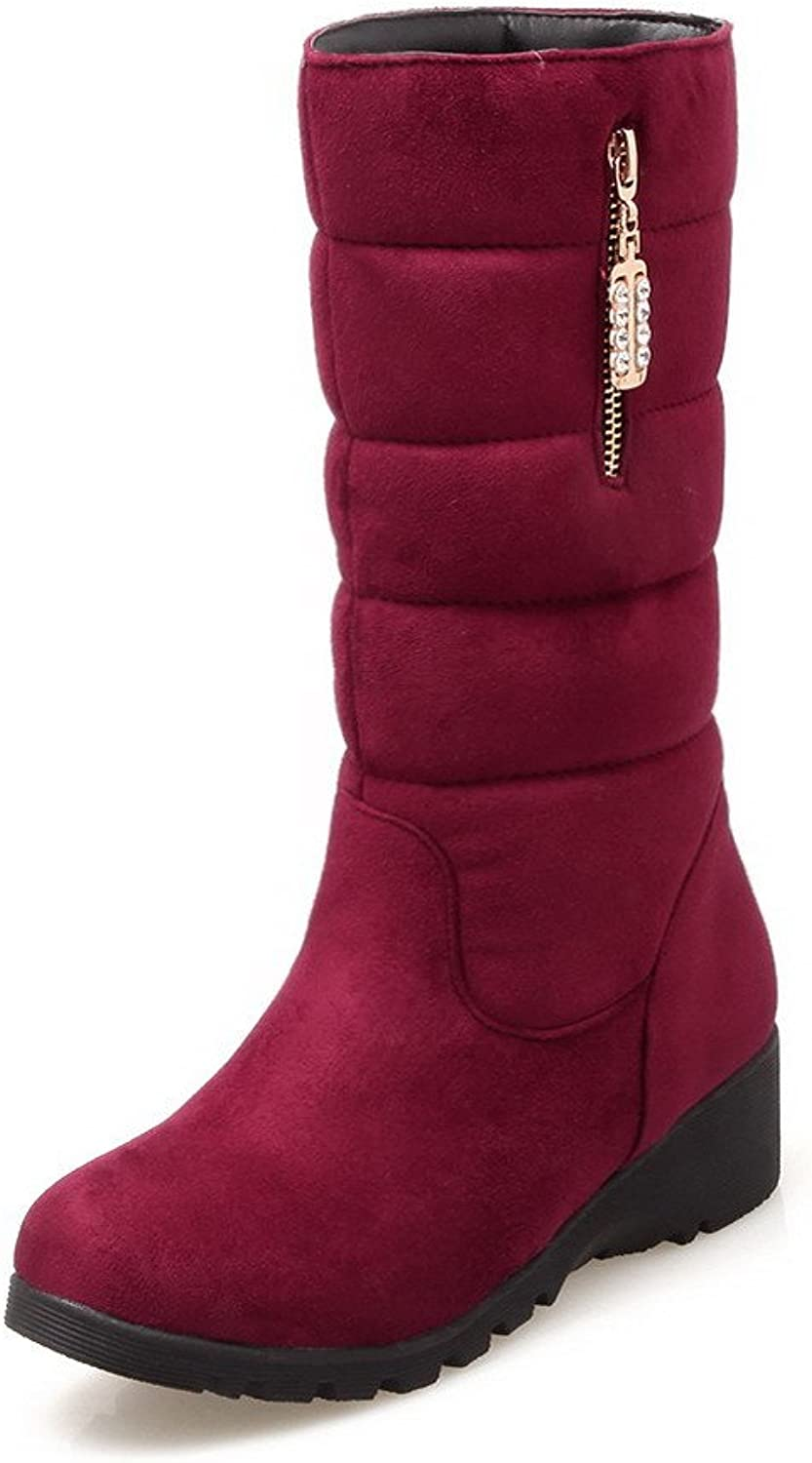 WeenFashion Women's Imitated Suede Mid-top Solid Pull-on Low-Heels Boots