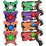 KO-ON Infrared Laser Tag Gun Set with 4 Vests & 4 Guns, Laser Tag Gun Toys for All Kids & Adults - Set of 4 Players, Infrared 0.9mW