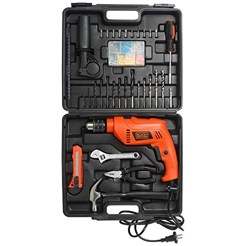 BLACK+DECKER HD555KMPR-B1 13mm 550Watt Hammer Drill and Hand Tools Kit for Home,DIY and Professional use -100 pc