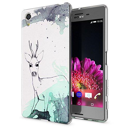 NALIA Handyhülle kompatibel mit Sony Xperia X, Slim Silikon Motiv Hülle Smart-Phone Crystal Schutzhülle Dünn Durchsichtig, Etui Handy-Tasche Transparent Back-Cover Bumper, Designs:Deer