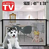 Magic Gate for Dogs, Pet Safety Gate, Pet Enclosure Portable Mesh Folding Safety Fence (Easy Install Anywhere), Pet Isolation Net Dog Gate for Indoor Hall Doorway Wide Tall (41'' x 31'')
