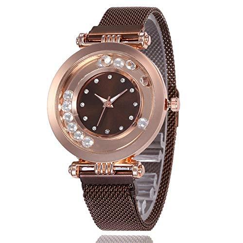 SANDA Relojes Hombre,Reloj de Mujer de Moda Reloj de Pulsera de Bola de Superficie Multicolor con Carcasa de aleación Ultrafina Reloj de Cuarzo Simple y versátil-marrón