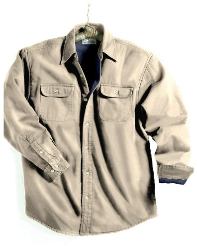 Tahoe Denim Shirt Jacket with Fleece Lining, Color: Khaki/Navy, Size: X-Large