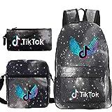 Travel TIK Tok Girls School Casual Daypacks Set Mochila Escolar para Estudiantes + Bolso pequeño + Bolso para bolígrafo Conjunto de Tres Piezas V-10