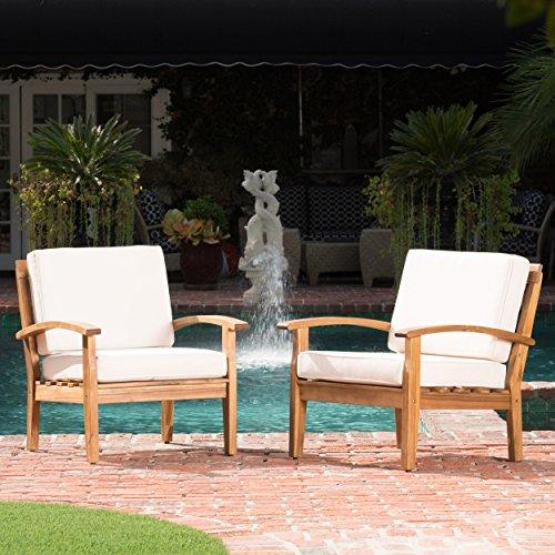 GDF Studio 299101 Preston Outdoor Wooden Club Chairs w/Beige Cushions (Set of 2)