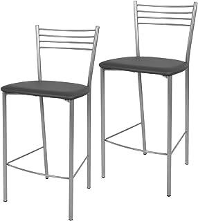 Tommychairs - Set 2 taburetes Elena para Cocina y Bar con Estructura en Acero Pintado Color Aluminio y Asiento tapizado e...