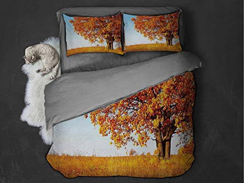 Toopeek Fall Extra large quilt cover Lonely and Ancient Oak Tree Grass Bushes Field Serene Rural Scenery Can be used as a quilt cover-lightweight (Twin) Orange Yellow Pale Blue