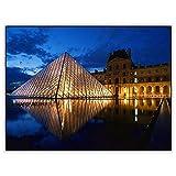 CRYUN Louvre Pyramid Night View 5d DIY Diamond Painting Art Taladro completo redondo mosaico de cristal Diamant pintura bordado Accesorios - Redondo 30 x 40 cm
