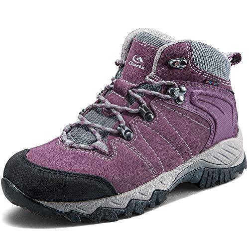 Clorts Women's Classic Hiking Boots Waterproof Suede Leather Lightweight Hiking Shoes Purple US Women Size 7.5 Medium Width
