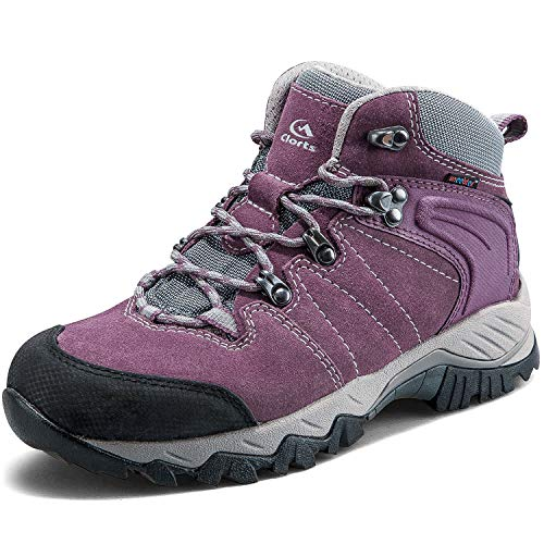 Clorts Women's Classic Hiking Boots Waterproof Suede Leather Lightweight Hiking Shoes Purple US Women Size 8.5 Medium Width