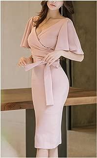 Moda&Nova Women's Deep V Neck Knee Length Office Lady Business Pink Bodycon Dress