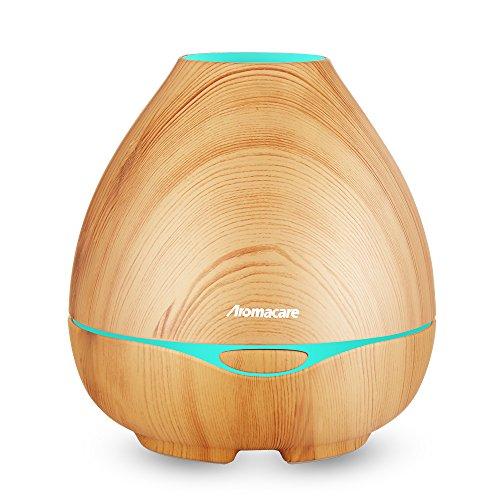 Aroma Diffuser 300ml Diffusor Luftbefeuchter Oil Düfte Humidifier Holzmaserung LED mit 7 Farben für Wohnzimmer, Kinderzimmer, Schlafzimmer, Baby- und Yogazimmer, SPA, Büro usw. (Gelb)