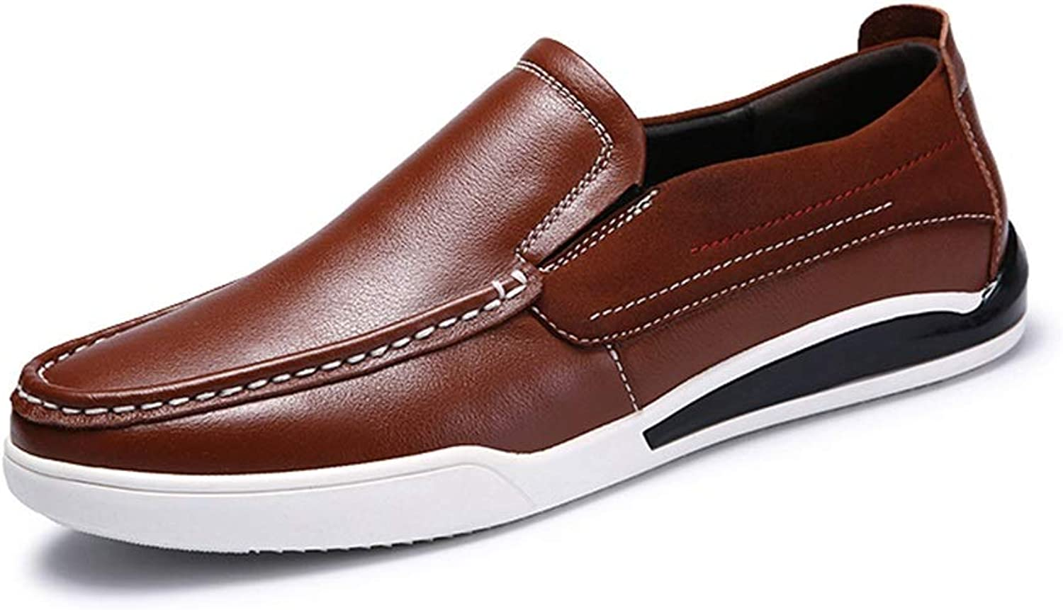 Easy Go Shopping Oxford shoes for Men Formal Business shoes Slip On Style OX Leather Simple Pure color Fashion British Style Round Toe Cricket shoes (color   Brown, Size   7.5 UK)