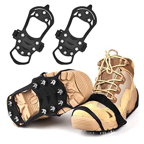 Crampones para botas de montaña, garra para zapatos, antideslizantes, clavos de acero inoxidable y clavos antideslizantes, para botas de escalada,montañismo,trekking,alto altitud,invierno,exteriores