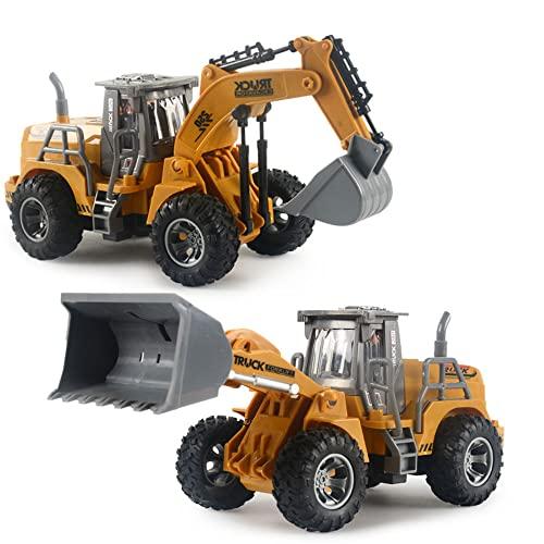WZRYBHSD RC Excavator Bulldozer Truck Para Niños,Juguetes De Excavadora De Construcción De Control Remoto,Juegos De Vehículos De Construcción De Ingenieros,Juguetes De Cargador De Garra Móvil Para Niñ