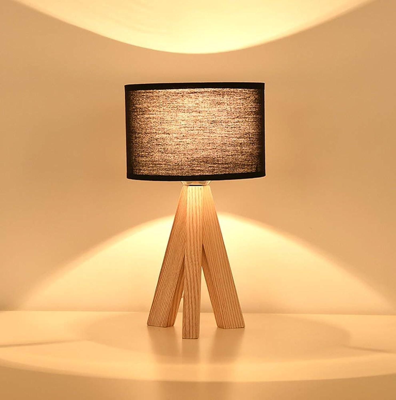 D08 Massivholztischlampe Nordeuropa Nachttisch Einfacher und Moderner Tuch Schlafzimmerstudie Wohnzimmerleselicht Netzschalter E27 Energieeinsparung und Umweltschutz Modern