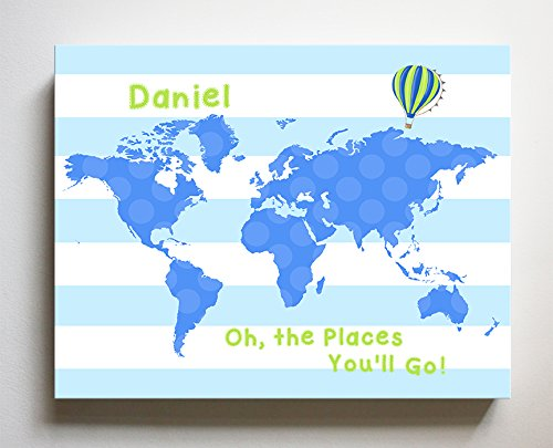 Growth Chart Custom Canvas Oh The Places Youll Go Hot Air Balloon PERSONALIZED Growth Chart