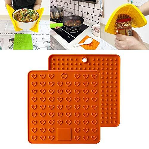 XGQ Silicona Multifuncional Anti-Quema de Aislamiento Mat Antifouling cojín de Drenaje (Negro) (Color : Orange)