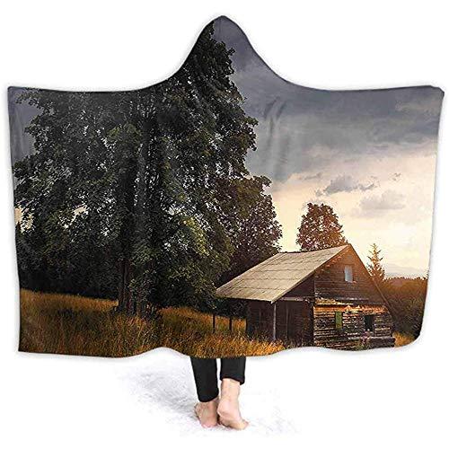 Henry Anthony 60 X 50 Zoll Kapuze Decke, Hütte auf Feld von Baum Landschaft Vintage Pastoral Wele weiche warme Plüsch Fleece gefüttert Throw Blanke