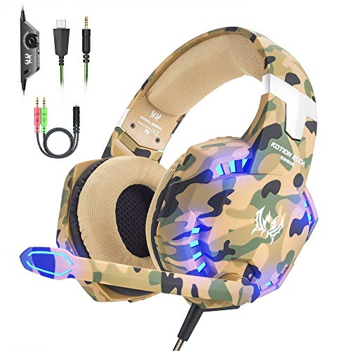 VersionTECH. Cuffie da Gioco per PS4 Cuffie Gaming con Microfono, Fascia Regolabile, Bass OverEar Jack da 3,5 mm, Luce LED, Controllo Volume, Basso Rumore per PS4/Xbox One/Nintendo Switch/PC/Mobile
