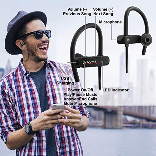 AVAZI Bluetooth Headphones Premium Quality Sport IPX7 Waterproof Wireless Sport Earbuds, Richer Bass HiFi Stereo in-Ear Earphones, 7-9 Hrs Playback, Running Headphones W/CVC6.0 Noise Cancelling Mic