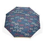 LASINSU Paraguas Resistente a la Intemperie,protección UV,Bocetos de Bicicletas City Race y Girls Bike en Retro sobre Fondo Azul