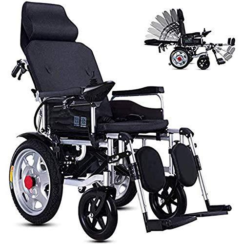 SXFYGYQ Elektrorollstuhl Mit Verstellbarer Rückenlehne, Tragbarem Klappmobilitäts-Elektrorollstuhl, Kippschutz Und Verstellbarer Kopfstütze