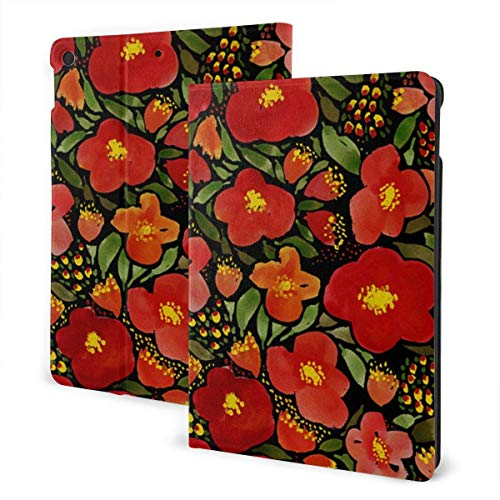 Case for iPad Watercolor Red Poppy Flower PU Leather Business Folio Shell Cover with Stand Pocket and Auto Wake/Sleep for iPad Air 10.5'