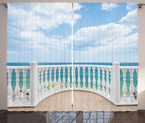 """Ambesonne White Curtains, Ocean Sea Shoreline Sunny Day Balcony Clouds Clear Sky Image, Living Room Bedroom Window Drapes 2 Panel Set, 108"""" X 63"""", Brown Sky"""