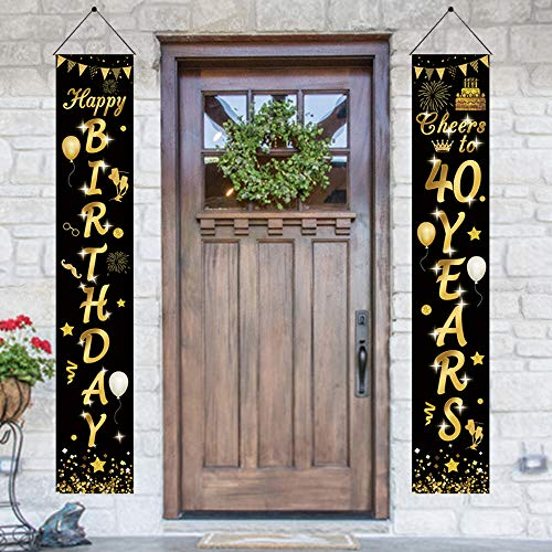 APERIL Decorazioni per Feste per Il 40 Compleanno Oro Nero, Cheers to 40 Years Banner del Portico 40 °Banner Festa di Compleanno 40°Segno di Benvenuto Compleanno Festoni Compleanno