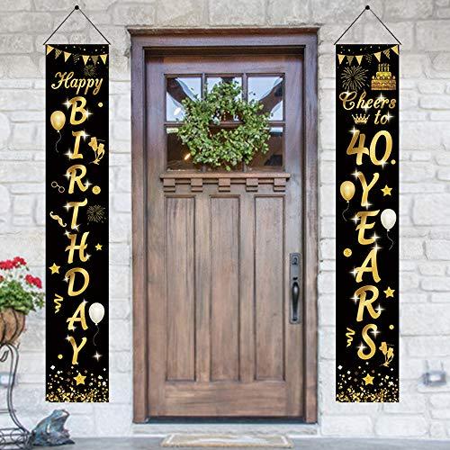APERIL 2 Stück 40 Geburtstag Party Dekorationen Schwarz Gold, Prost auf 40 Jahre Banner Happy Birthday Girlande Willkommen Veranda Zeichen für 40. Geburtstag Party Lieferung Geburtstagsdeko