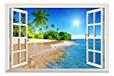 window wall decal sticker - Wall26 White Beach with Blue Sea and Palm Tree Open Window Mural Wall Decal Sticker - 36