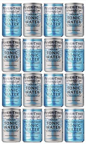 Fever-Tree Refreshingly Light Mediterranean Tonic Water Cans & Refreshingly Light Tonic Water Cans 16 x 150ml - Mixed Pack x 16