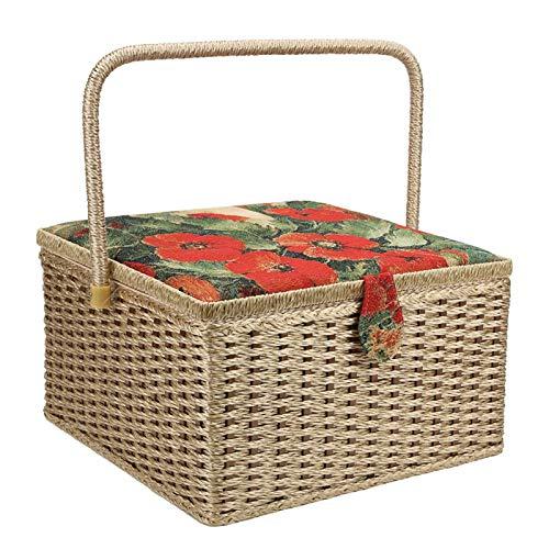 Caja de almacenamiento de hilo, estuche de bordado duradero, accesorio de tejido de dos capas con cojines de agujas para coser bordados