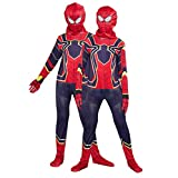 MIANslippers Iron Spiderman Disfraces Impreso 3D Jumpsuit Carnival Onesuit Película Fans Ropa Play Lycra Bodysuit Superhéroe Fantasía Vestido,Iron Spiderman-S