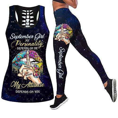 Verano 2021 Pantalones De Chaleco Hueco Impresos En 3D para Mujer Ocio Yoga Fitness Running Traje De Dos Piezas (Color : C, Tamaño : XL)