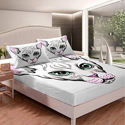 Set di lenzuola per gatti siamese, per bambini e ragazze, con grazioso gatto bianco, lenzuolo con angoli in microfibra leggero, 3 pezzi, con 2 federe, king size