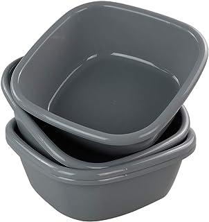 Idomy Baby Small Wash Basin, Plastic Square Dish Pan, Pack for 3 (8-10 Quart)