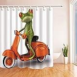 N / A Kinder Cartoon 3D Digitaldruck Tier Frosch Reiten Duschvorhang Orange Schimmel Motorrad dekorative Oberfläche Familie wasserdicht & Schimmel sicher dekorative Duschvorhang A126 150x200cm