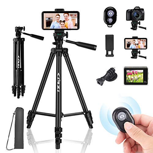 """Kirzi Phone Tripod 50"""" Adjustable Travel Video Tripod Stand with Camera Cell Phone Mount Holder with Bluetooth Remote,Compatible Well with iOS/Android"""